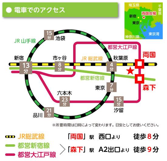 両国会場電車アクセスMAP